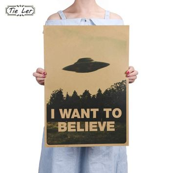 Vintage Classic Movie Poster I Want To Believe Bar Home Kraft Paper Painting Wall Decor