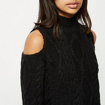 Black cold shoulder cable knit jumper - jumpers - knitwear - women