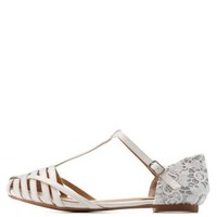 White Strappy Glitter-Lined Lace T-Strap Flats by Charlotte Russe