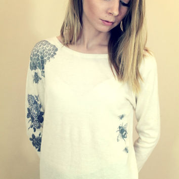 Honey Bee and Flowers Tatto Sweater Top - Free Shipping :)
