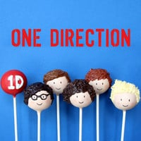 6 One Direction British Boy Band Cake Pops - for birthday, rock, pop, karaoke party favors