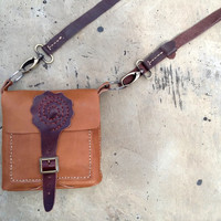 handmade brown leather bag, small handbag, iphone pouch, gadget case, Cross Body Purse