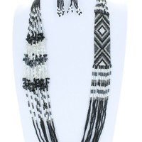 AZTEC Trendy Seedbead Long Necklace and Earrings Set Beaded Fashion Black White Gray Bead Costume Jewelry Gift