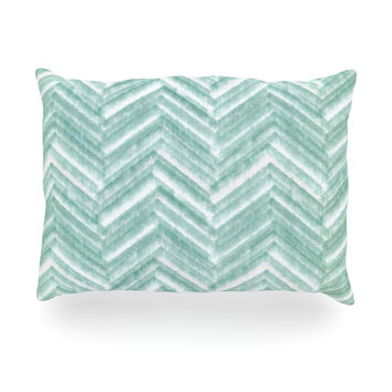 "Heidi Jennings ""Painted Chevron"" Teal Green Oblong Pillow"