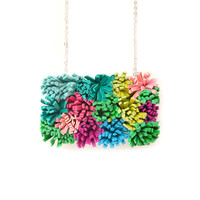 Green Leather Succulent Plant Statement Necklace, Colorful Fiber Art Jewelry | Boo and Boo Factory - Handmade Leather Jewelry