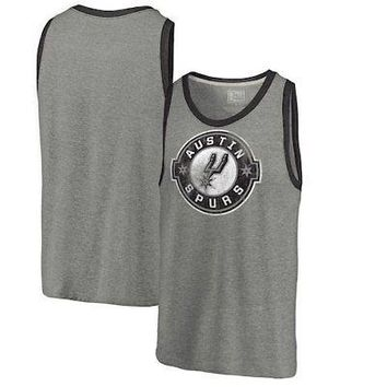 Licensed Sports Austin Spurs Fanatics Branded Distressed Primary Tri-Blend Tank Top - Heathered KO_20_2