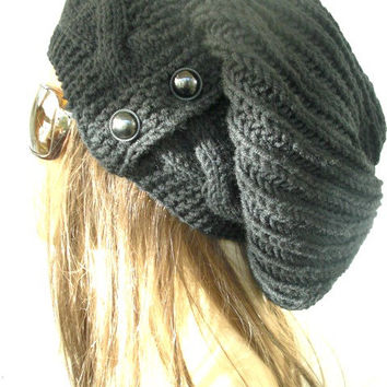 Hand Knit Hat- Womens hat -  Slouchy Beanie cable Knit Hat in Black with  Button  Winter Accessories knitted beanie Autumn Fashion