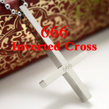 666 Inverted Cross titanium steel 316L Stainless Steel Pendant Necklace Lucifer Satan Satanism jewelry high quality