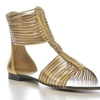 Vince Camuto Metallic Gold Gladiator Flats Sandals Shoes 5.5 6.5 7 NEW FOC123