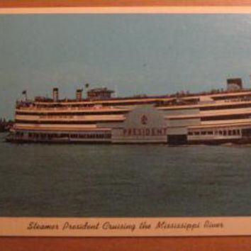 Vintage Steamer President Cruising The Mississippi River New Orleans LA Louisiana Postcard