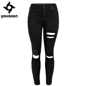 1878 Youaxon Women`s New Celebrity Stretch Black Ripped Destroyed Skinny Denim Pants Trousers Ferminio Jean Jeans For Women