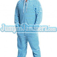 Blue Stripes - Hooded footed, adult, onsies,