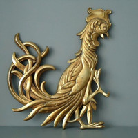 Syroco Wood Rooster Wall Hanging - Hollywood Regency Syroco - French Country Kitchen Decor