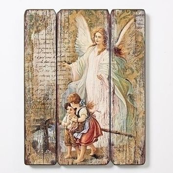 Guardian Angel Wood Wall Plaque