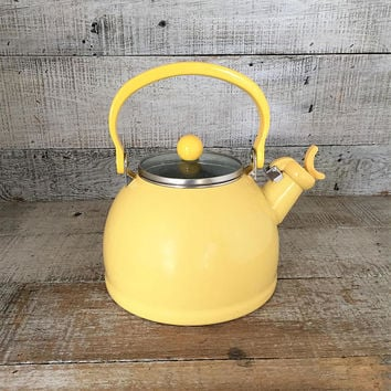 Enamel Tea Kettle Retro Yellow Metal Teapot with Resin Handle Vintage Whistling Tea Kettle Yellow Teapot Mid Century Retro Kitchen