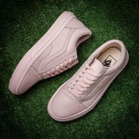 Vans/ Pink super soft head layer leather casual shoes