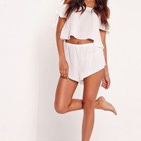 Missguided - Bardot Pyjama Set White