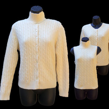 100% Cashmere Sweater Set - Cardigan w/ Turtleneck Vest - Valerie Stevens - Soft Pale Yellow - Full Button Front w/ Cables - Women's Size L