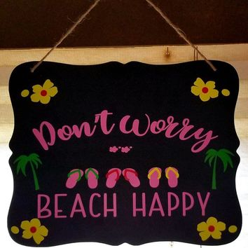 Beach Scrolled Chalkboard Signs with rope hanger
