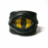 Dragon eye adjustable black leather ring. halloween ring