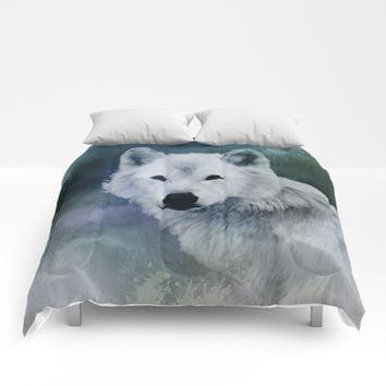 Spirit of White Wolf Comforters by Theresa Campbell D'August Art