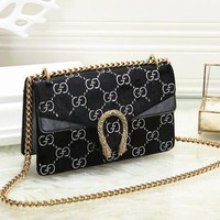 GUCCI Women Shopping Velvet Metal Chain Crossbody Satchel Shoulder Bag Black