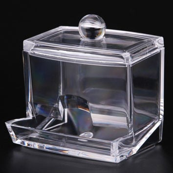 New Design Cosmetic Makeup tool Women Storage Box With Lid Clear Acrylic Cotton Swab Box Q-tip Storage Holder
