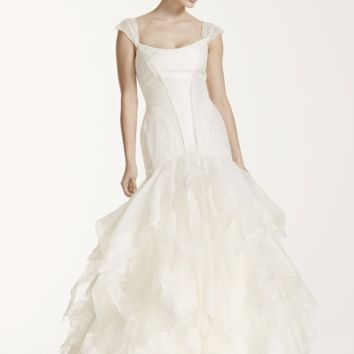Truly Zac Posen Wedding Dress with Lace Cap Sleeve - Davids Bridal