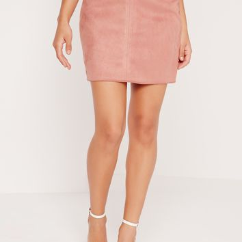 Missguided - Faux Suede Stitch Waistband Skirt Pink