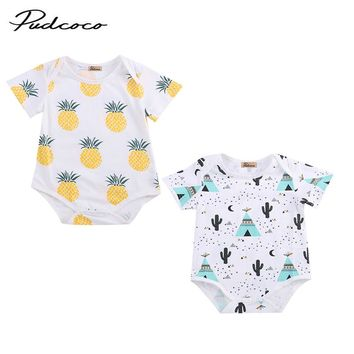 Baby Girl Rompers Summer Girls Clothing Sets Roupas Fruit pineapple Printed Baby Clothes Cute Baby Jumpsuits Girls Clothing