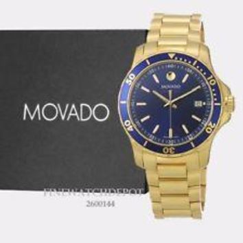 Authentic Movado Men's Series 800 Blue Dial Yellow Gold Strap Watch 2600144