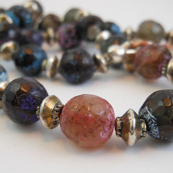 Faceted Natural Brazil Fire Agate Gemstone Multi Color Necklace
