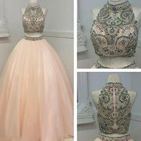 Custom made high neck two pieces long prom gown, evening dress