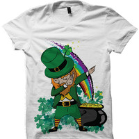 St. Patricks Day T-shirt Dabbin' Leprechaun Shirt St. Pattys Day Gifts Funny Shirts Mens Womens Tops Tees Irish Gifts Party Shirts from CELEBRITY COTTON