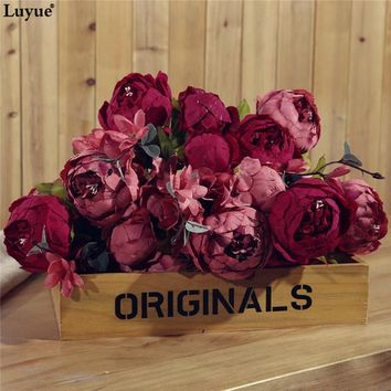 Gorgerous Artificial Peony Vintage Autumn simulation Peony one bouquet for wedding flowers party office and home centerpiece