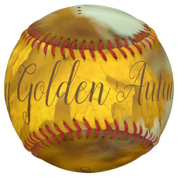 Yellow autumn maple leaves. Add text. Softball