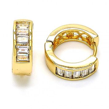 Gold Layered Huggie Hoop, with Cubic Zirconia, Golden Tone
