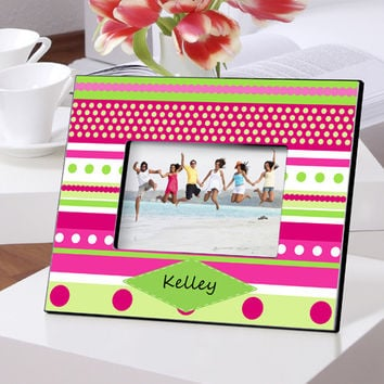 Personalized Color Bright Frames - Pink Polka Dot