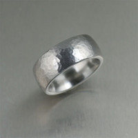 9mm Hammered Domed Stainless Steel Men's Ring - Makes a Great 11th Wedding Anniversary Gift!