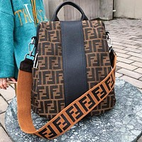 FENDI Fashionable Women Men Casual Canvas Travel Bag School Bag Backpack