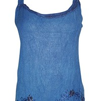 Women's Casual Top Stonewashed Blue Strappy Stylish Blouse S: Amazon.ca: Clothing & Accessories