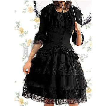 Gothic Lolita Dress with Long Sleeves Lace Cotton Black Blouse for Sale [TQL120504077] - £51.59