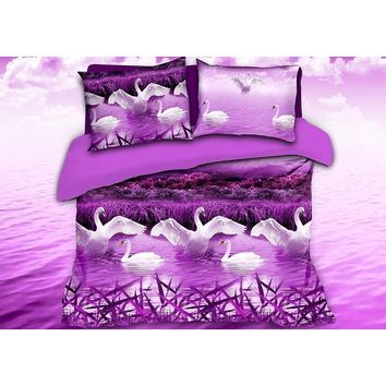 Luxurious 3D Bed Sheet Set Wild Life Animals,Purple Swans Print in Queen King Size
