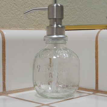 Clear Glass Apple Soap or Lotion Dispenser