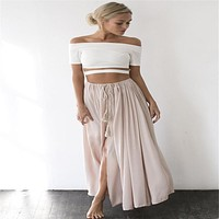 2017 New Casual Summer Sexy Maxi Women Skirts Blue Beige Long Beach Boho Chiffon Skirts