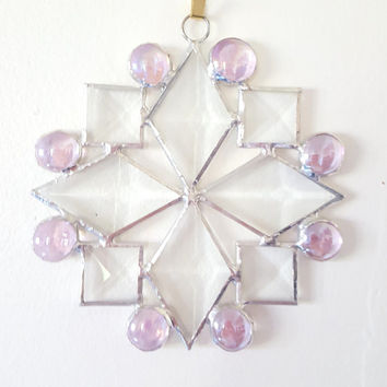 Beveled Stained Glass Snowflake Suncatcher with Pink Glass Nuggets, Snowflake Ornament, Christmas Decoration, Hostess Gift