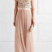 Needle & Thread - Flowerbed embellished tulle top