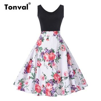 Tonval Floral Print Black Summer Dress Vintage Red Flower Casual Dress Women Sleeveless Rockabilly Retro Dresses