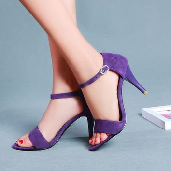 Leather and suede high heels with open toe & ankle straps ~ 3 colors!