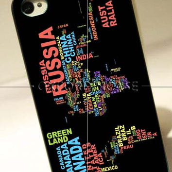 World Map Based Typography - for iPhone 4/4S case iPhone 5 case Samsung Galaxy S2/S3/S4 case hard case